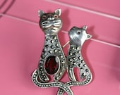 Vintage Sterling Silver Cat Brooch Pin