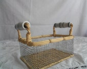 Wire Wicker Basket with Ceramic Green Stripe Handles