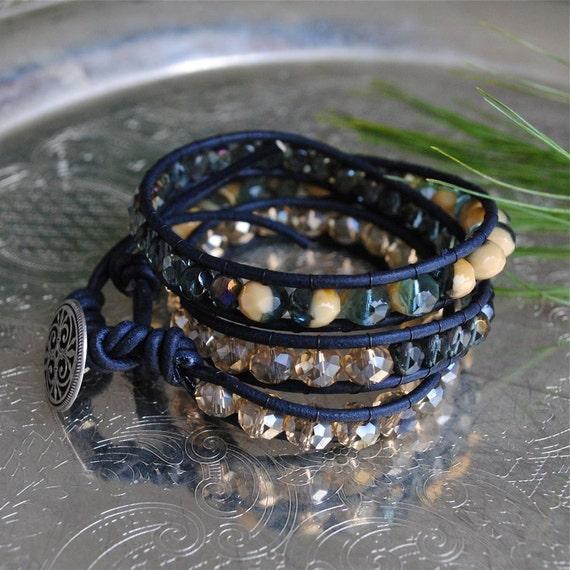 Leather Bead Wrap in Storm Watch - Triple Bohemian Wrap Bracelet