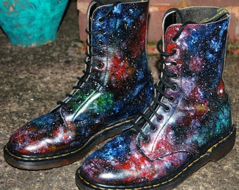 Summer Festival Essential, Galaxy Cosmic Print 10 Hole Dr Martens. Hand Painted. All sizes, Male and Female!