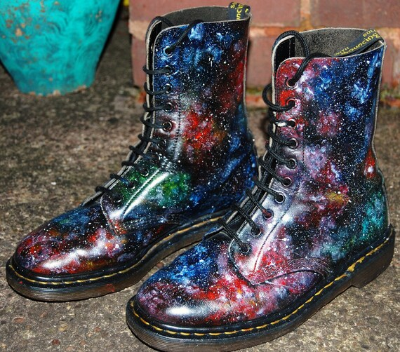 Galaxy Cosmic Print 10 Hole Dr Martens. Hand Painted. Christmas Gift. Sizes 3 to 10.