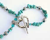 Turquoise Gemstone Necklace with Blue Swarovski Crystals and Pewter Beads with a Heart