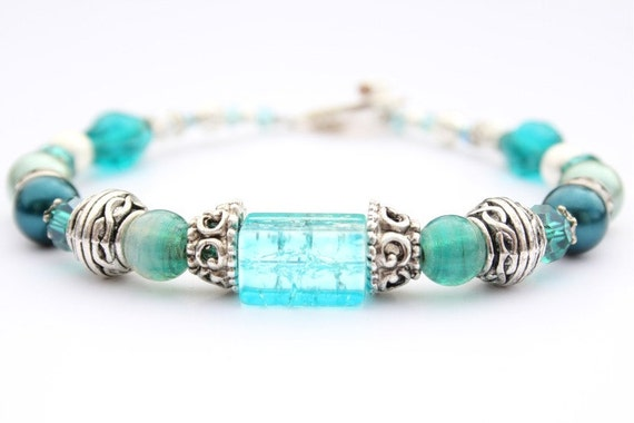 Sea Green blue Bracelet with crackle glass, crystal rondelles, glass beads, metal beads, and toggle clasp