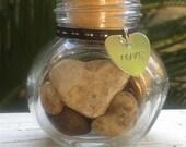 Miniature Jar of Hearts, Natural Heart Stones, Love Rocks, Heart Rocks, Vintage, no.11, FREE SHIPPING