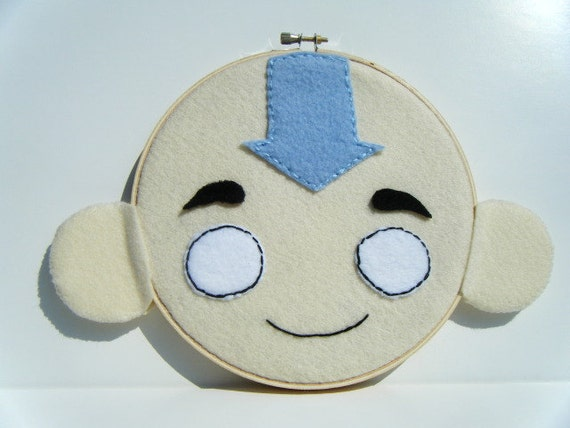 Aang - Embroidery Hoop Wall Art