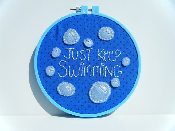 Just Keep Swimming - Embroidery Hoop Wall Art