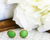 Vintage clip on earring antique buttons antique buttons Green post earrings -vintage buttons earrings studs or clip on
