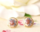 Vintage floral earrings -Vintage buttons earrings  -studs or clip on