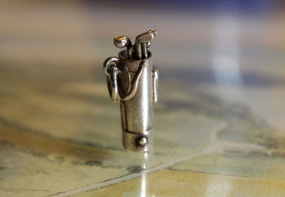 Vintage GOLF BAG and CLUBS English Sterling Silver Charm. Moveable Clubs. Father's Day.