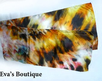Gorgoues natural silk scarf, yellow, brown, orange tones, vivid color large patterns, hand dyed, soft light, gift idea, anniversary birthday