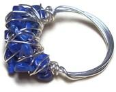 Unique ring blue lapis lazuli cocktail ring