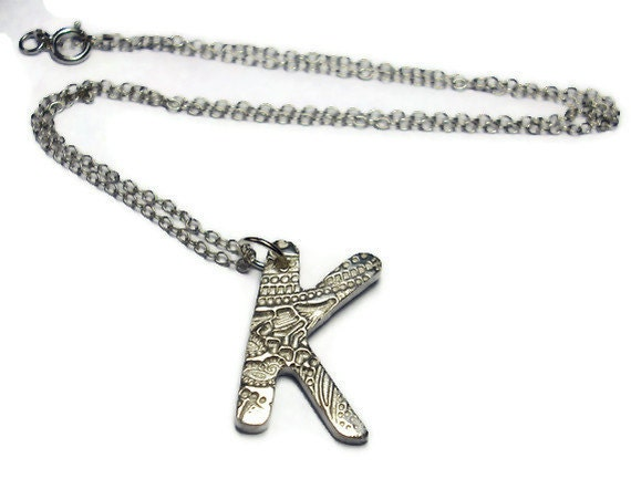Silver initial K necklace personalised charm