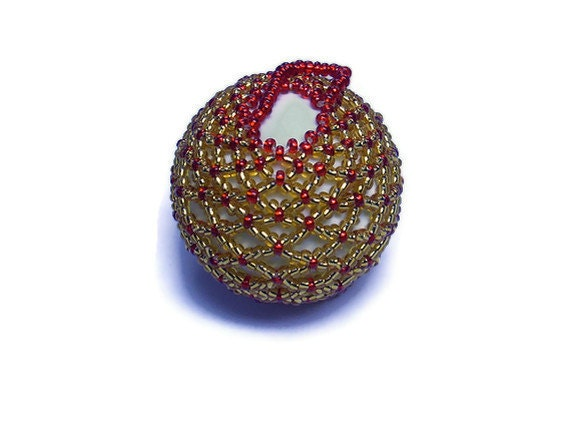 Christmas bauble red and gold beaded decoration