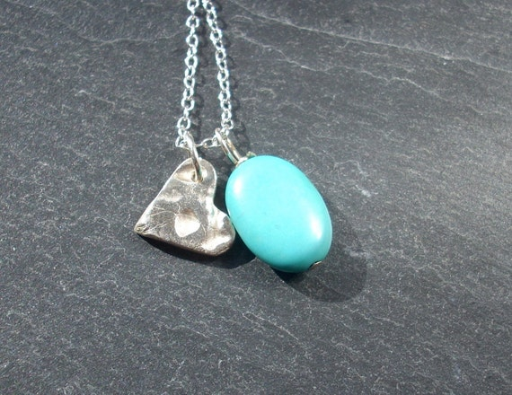 Silver heart and turquoise charm necklace