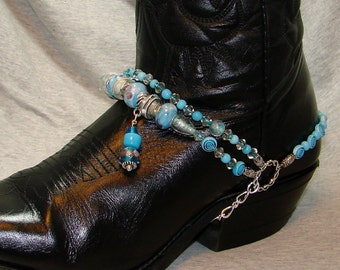 Sky Blue Beaded Boot Bracelet