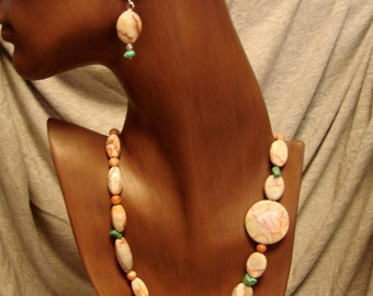 Necklace of Jasper Stone & Turquoise Beads