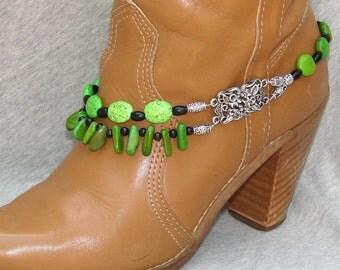 Natural Green Stones Beaded Boot Bracelet