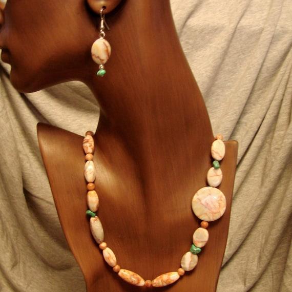 Necklace of Jasper Stone & Turquoise Beads