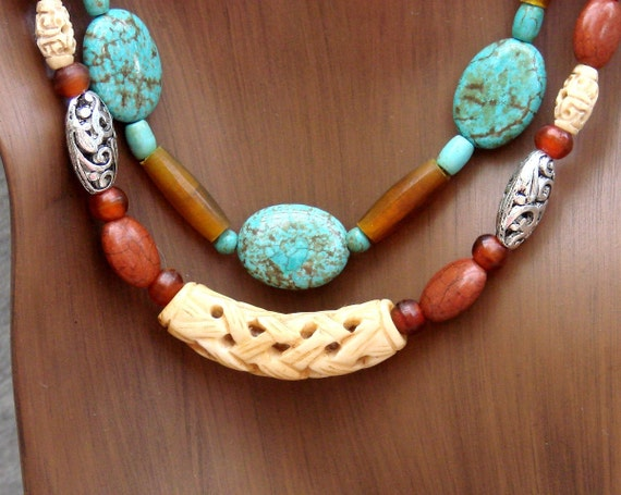 Hand Carved Bone & Natural Stone Necklace