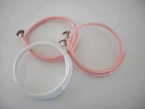 3 knitting needle bracelets  pink and white med-large