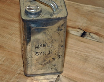Primitive 1800s VERMONT Sugarhouse Fine Maple Syrup Embossed Large 1 Gallon Size Tin Can w/ Old Style Embossed Lettering Very Scarce to Find
