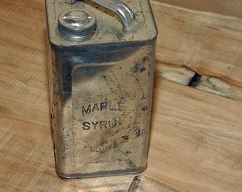 VERMONT Rare to Find Sugarhouse Primitive 1800s Maple Syrup Embossed Large 1 Gallon Size Tin Can w/ Old Style Lettering Very Scarce to Find