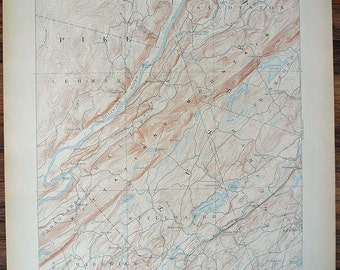 Lots of Maps/NEW JERSEY, Wallpack N. J. Pennsylvania Surrounding Areas Antique 1910 US Geological Survey Topographic Map