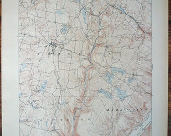 Antique NEW YORK Monticello 1911 Topographic Map Very Fine Condition More Maps Listed