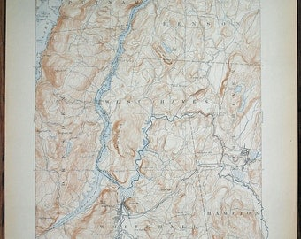 Antique NEW YORK WhiteHall, Vermont & Surrounding Areas, Rare 1918 US Geological Survey Topographic Map