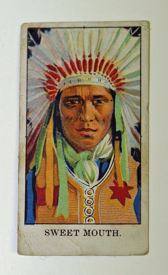 Antique very rare1910 E50 Dockman & Sons Wild West Sitting Bull Indian Gum Card Nice to frame