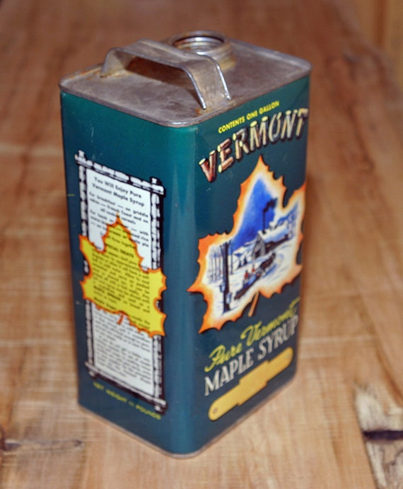 Early Vintage rare Gallon Size Vermont Maple Syrup Tin Can Vivid Beautiful Graphics