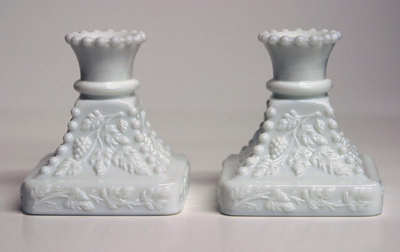 Reserved Wendy Early Vintage Grape & Vines Milk Glass Candle Holders Valentines Day Romantic