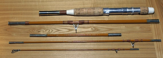 """Sale/ Antique Vintage Maine 5 Piece FLY FISHING ROD with Case 80 1/2"""" Fiber Glass, rare to find"""