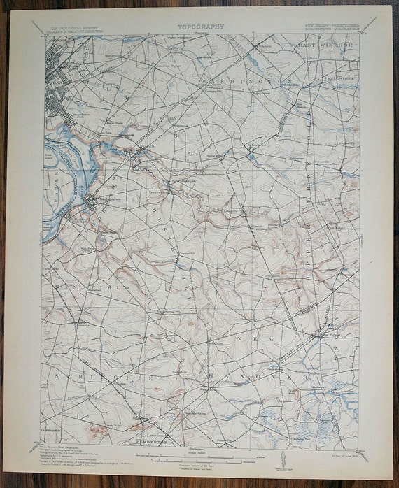 More Maps NEW JERSEY, Bordentown & Surrounding Areas Pennsylvania Antique Rare US Geological Survey Topographic Map