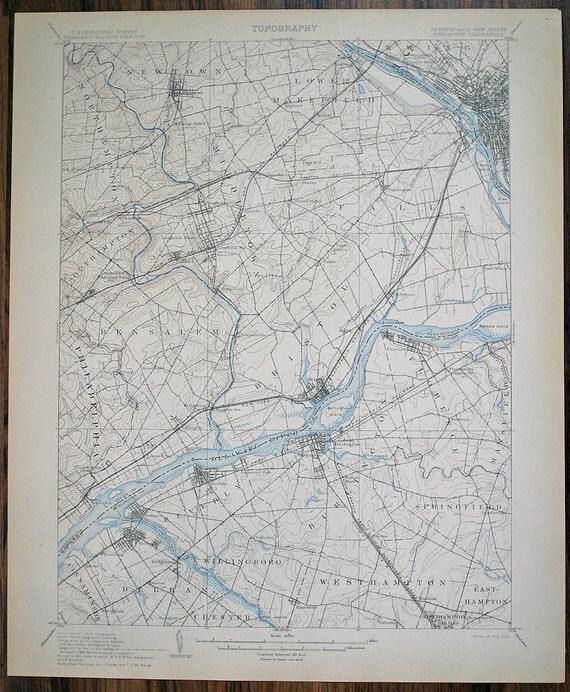 Antique PENNSYLVANIA Burlington & New Jersey Surrounding Areas Fine Antique Rare 1906 US Geological Survey Topographic Map