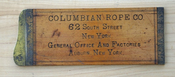 Antique 1900s Very Rare Columbia Rope Company Auburn New York Manila Cordage Scale Brass Ends