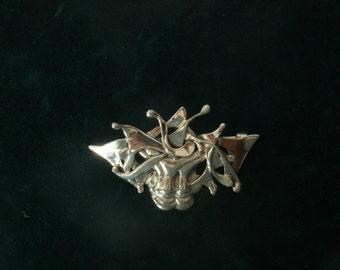 Silver Mask Brooch