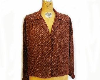 SALE 1970s Anne Klein Silk Dolman Blouse