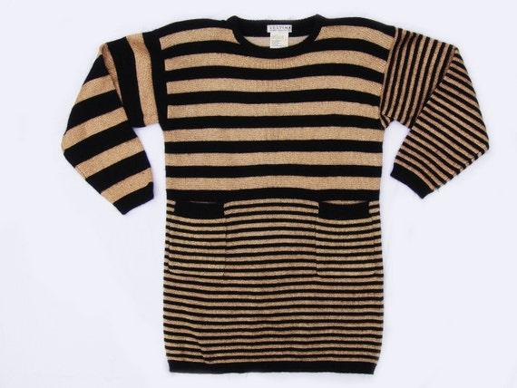 80s Mixed Stripe Metallic Sweater Tunic