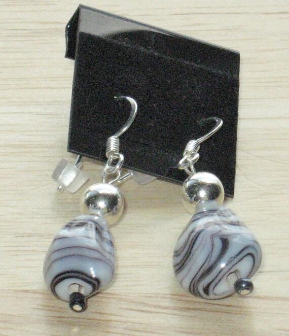 Dangling, Beaded Earrings in Black and White