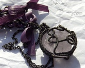 Gothic Amethyst: Ribbon and Silver wire wrapped Necklace