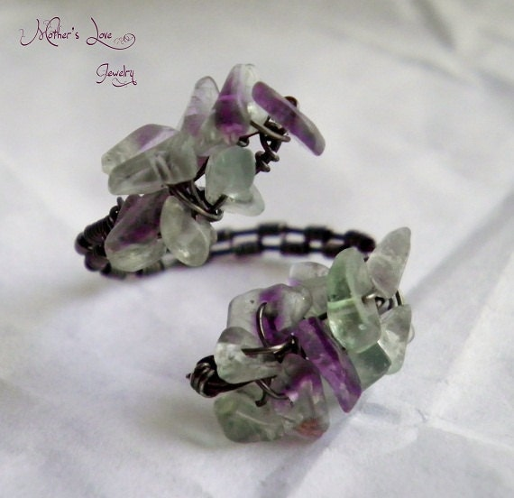Flourite Chip Gunmetal Wire wrapped Ring