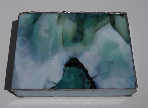 Blue-Green Hinged Keepsake Box