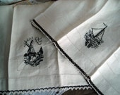 Exquisite Vintage Pair of Black and Ivory Heavyweight Linen Tea Towels