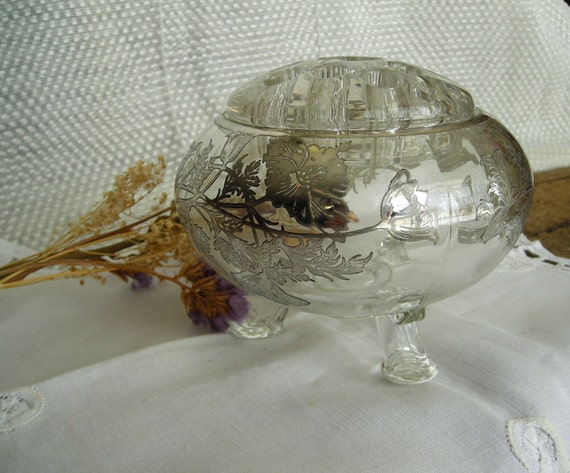 RESERVED FOR GRAZIANO Exquisite Vintage Footed / Tripod Flower Arranging Frog with Silver Overlay/Wedding/Bridal/Anniversary