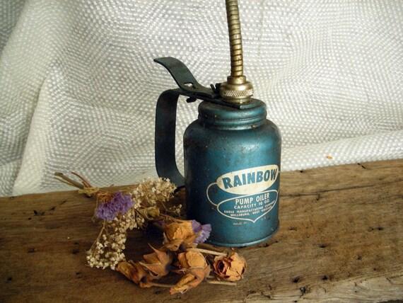 Grimy Vintage Rainbow Pump Oil Can with Bendable Spout