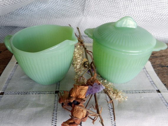 RESERVED FOR AMBER Beautiful Vintage Fire-King Jadeite/Jadite Sugar Bowl and Creamer Set in Excellent Condition