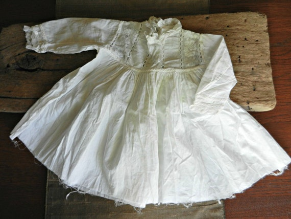 Antique Lace-Trimmed Baby or Doll Dress, Unhemmed