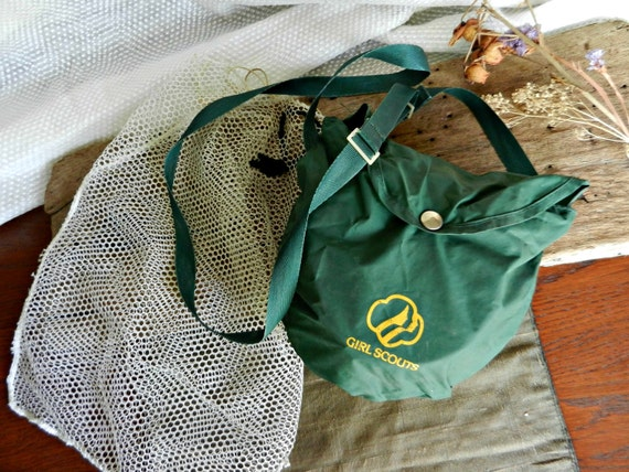 Vintage Girl Scout Mess Kit with Mesh Bag