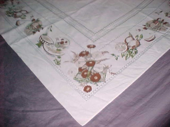 Vintage Tablecloth Pink Background w/Fruit Filled Baskets All Around  circa 1950
